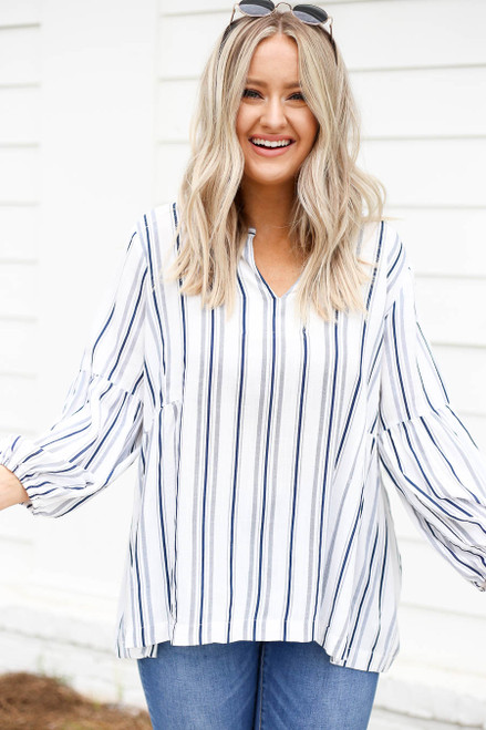 Navy - and White Striped Balloon Sleeve Blouse Front View