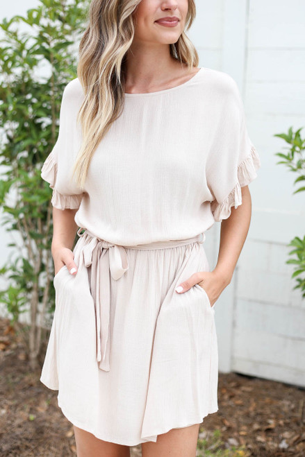 Taupe - Ruffle Sleeve Belted Mini Dress Detail View