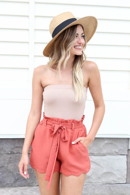 Rust - Scalloped Belted Shorts
