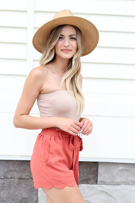Model wearing Rust Scalloped Belted Shorts Side View
