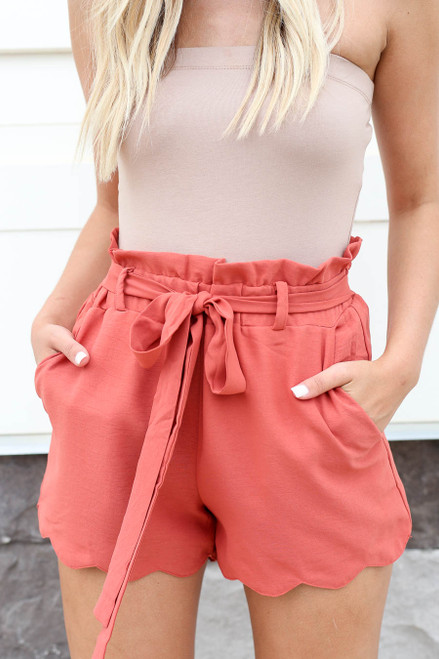 Rust - Scalloped Belted Shorts Detail View