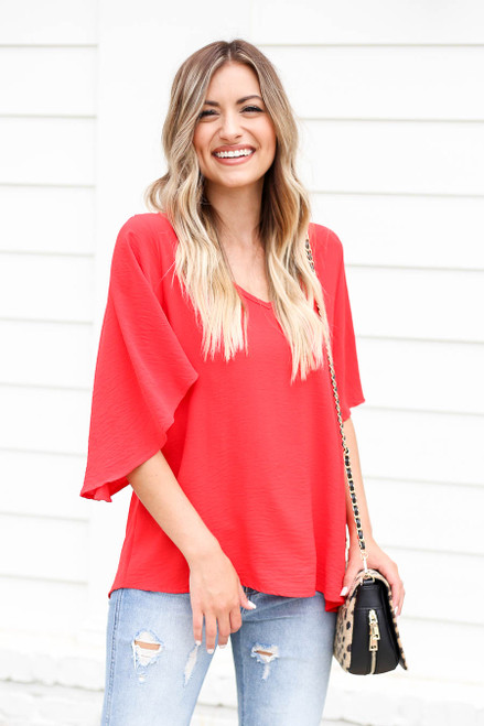 Red - Statement Bell Sleeve Chiffon Blouse