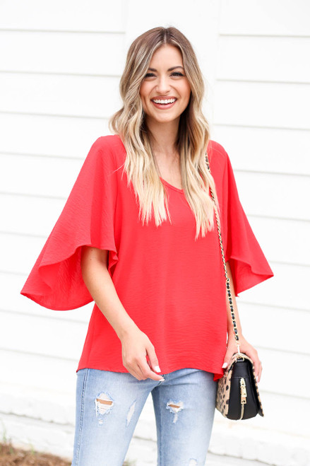 Model wearing Red Statement Bell Sleeve Chiffon Blouse Front View