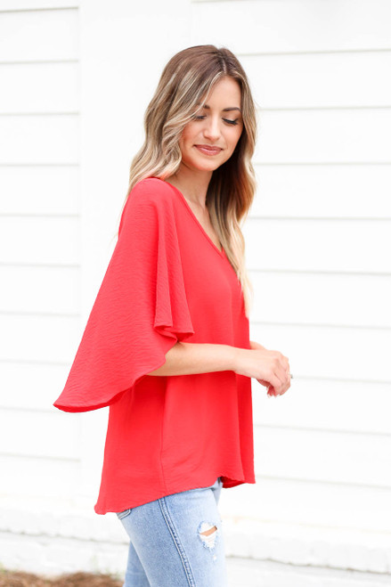 Red - Statement Bell Sleeve Chiffon Blouse Side View