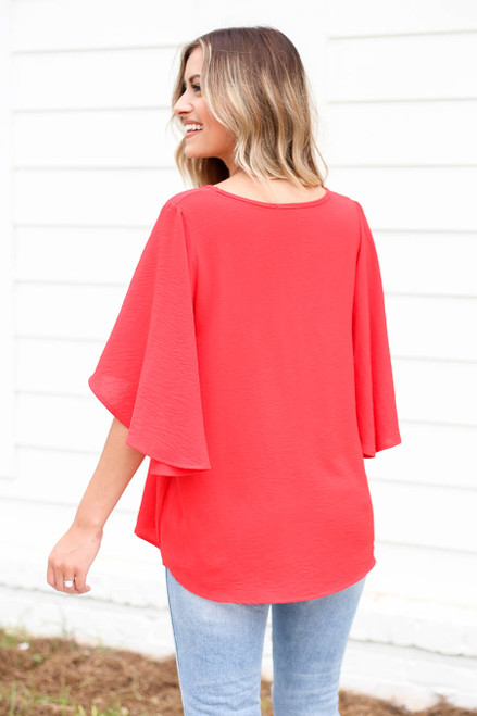 Model wearing Red Statement Bell Sleeve Chiffon Blouse Back View