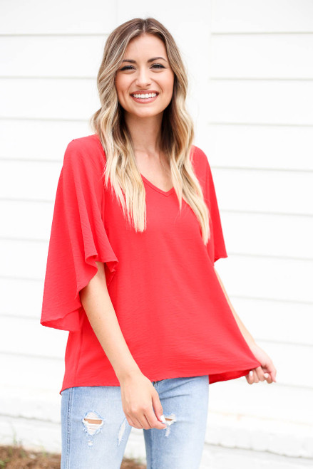 Model wearing Red Statement Bell Sleeve Chiffon Blouse