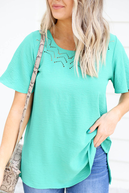Model wearing Mint Laser Cut Out Top Detail View