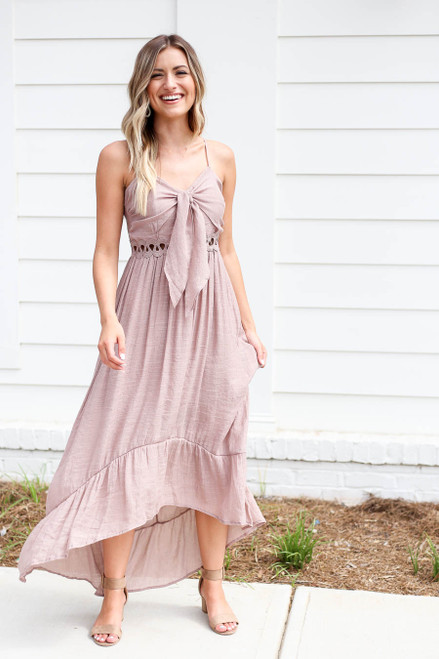 Model wearing Taupe Tie Front Cutout High Low Maxi Dress Front View