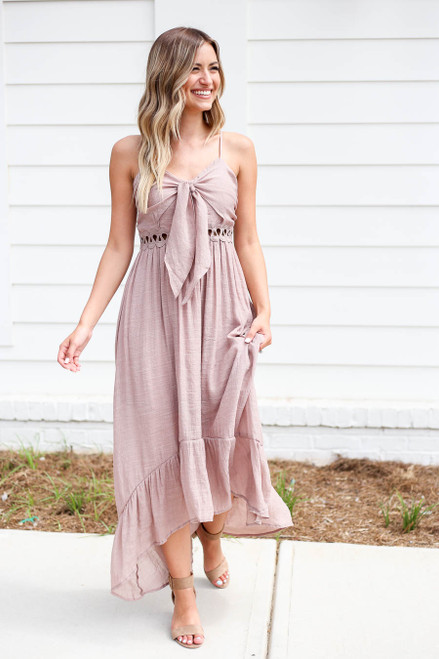 Taupe - Tie Front Cutout High Low Maxi Dress
