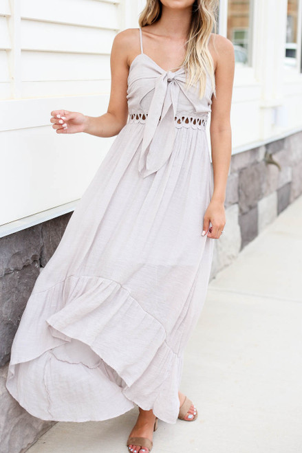 Model wearing Grey Tie Front Cutout High Low Maxi Dress Detail View