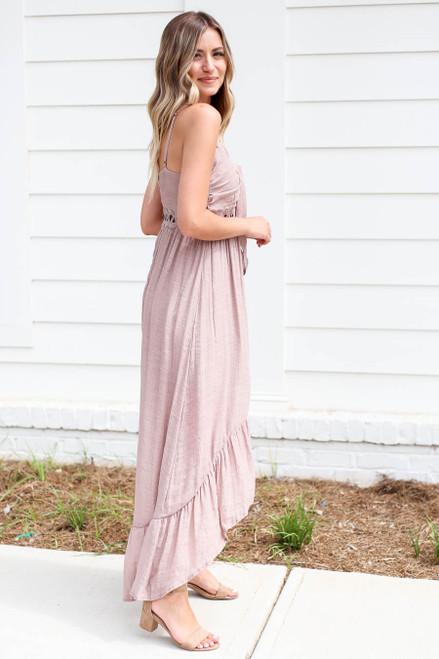 Taupe - Tie Front Cutout High Low Maxi Dress Side View