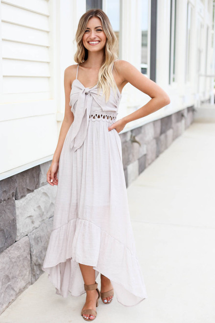 Model wearing Grey Tie Front Cutout High Low Maxi Dress Front View