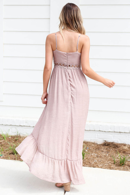 Model wearing Taupe Tie Front Cutout High Low Maxi Dress Back View