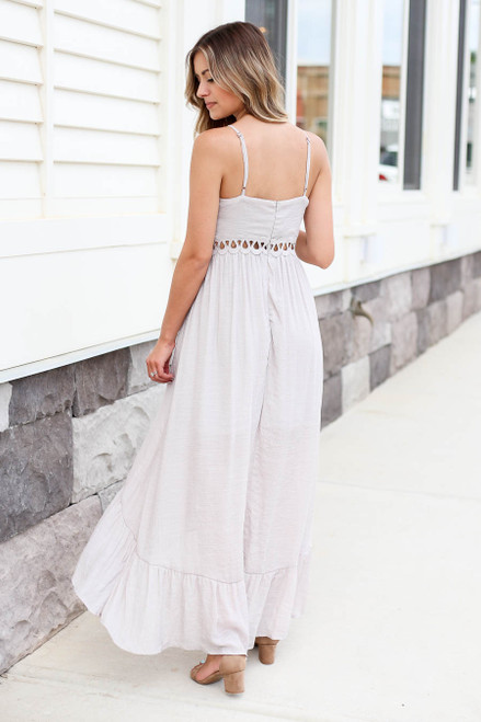 Model wearing Grey Tie Front Cutout High Low Maxi Dress Back View