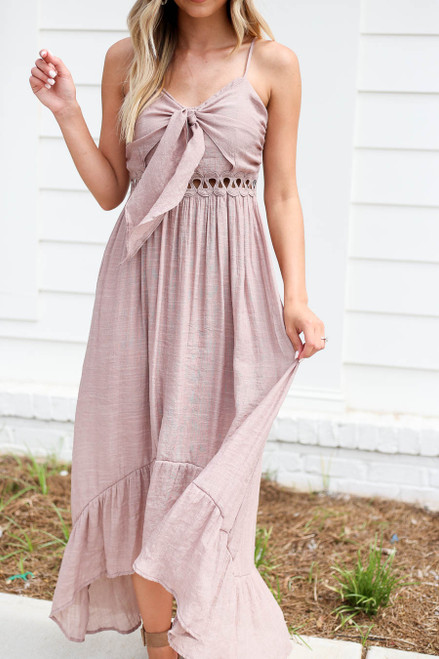Model wearing Taupe Tie Front Cutout High Low Maxi Dress Detail View