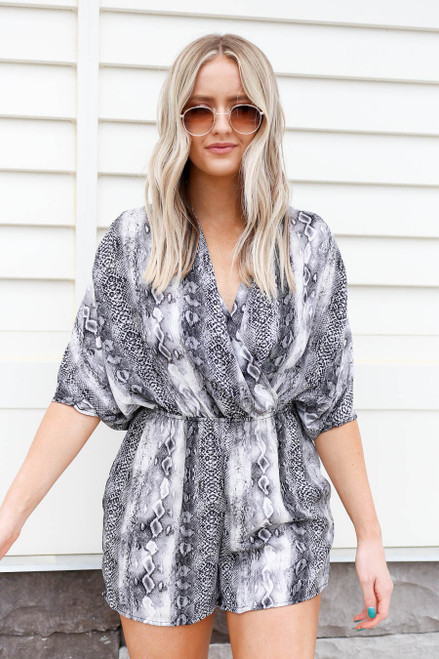 Model wearing Snakeskin Crossover Romper Front View
