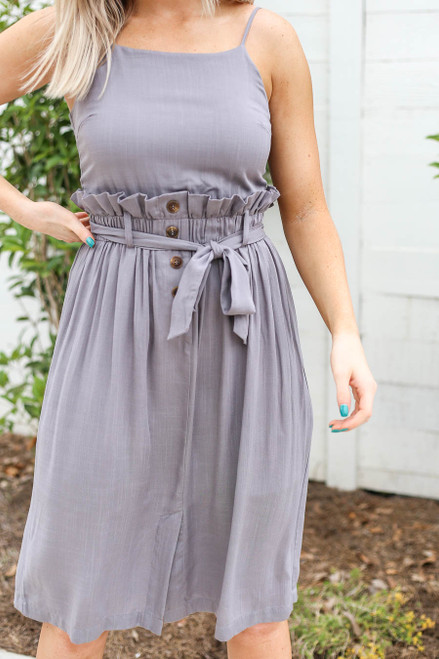 Model wearing Grey Paperbag Waist Midi Dress with Belt Detail View