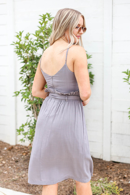 Model wearing Grey Paperbag Waist Midi Dress with Belt Back View