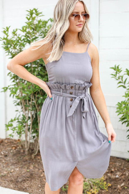 Model wearing Grey Paperbag Waist Midi Dress with Belt Front View