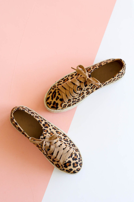 Leopard - Print Platform Espadrille Sneakers Flat Lay Top View