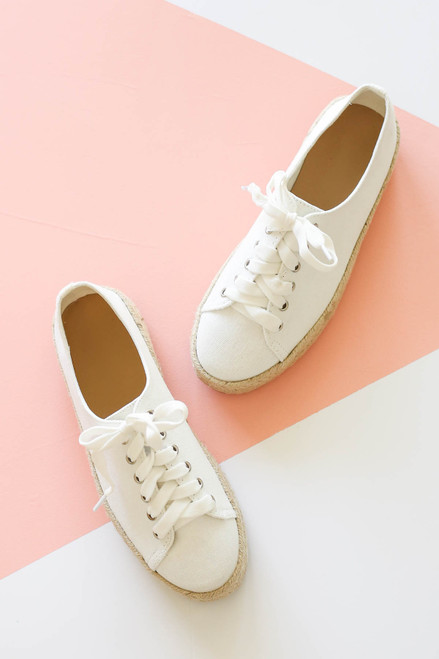 White - Platform Espadrille Sneakers Flat Lay Top View