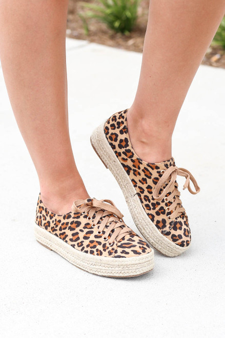 Leopard - Print Platform Espadrille Sneakers on Model