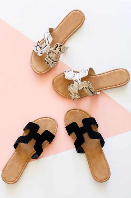 Black - and Snakeskin H-Strap Slide On Sandals Flat Lay