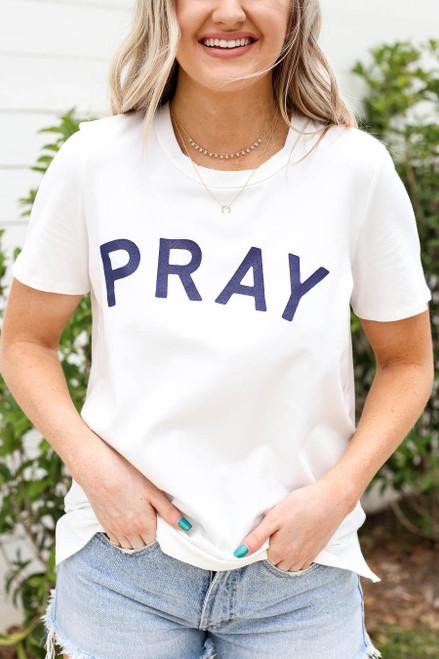 Ivory - Pray Graphic Tee Detail View