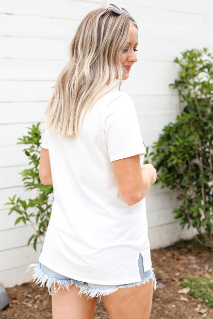 Model wearing White Pray Graphic Tee Back View