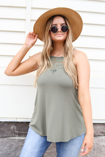 Olive - Crochet Lace High Neck Tank Front View