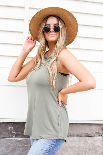 Olive - Crochet Lace High Neck Tank Side View