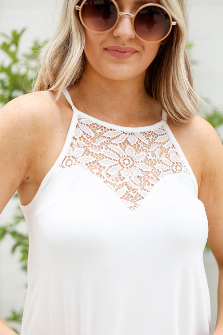 Ivory - Crochet Lace High Neck Tank Detail View