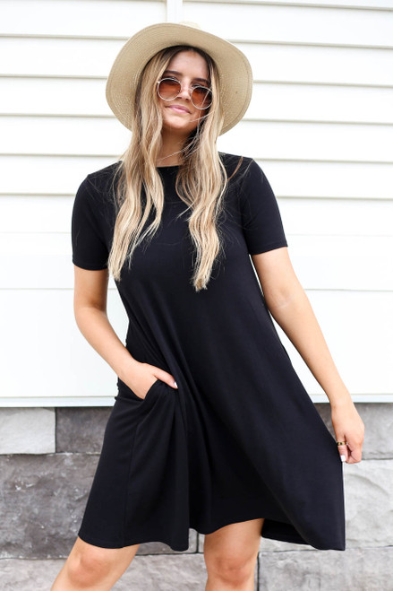 Black - Basic T-Shirt Swing Dress