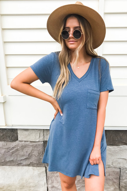 Navy - Pocketed T-Shirt Dress Full View