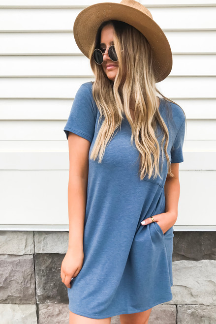 Model wearing Navy Pocketed T-Shirt Dress Front View