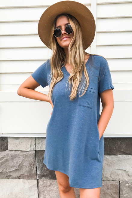 Model wearing Navy Pocketed T-Shirt Dress Side View