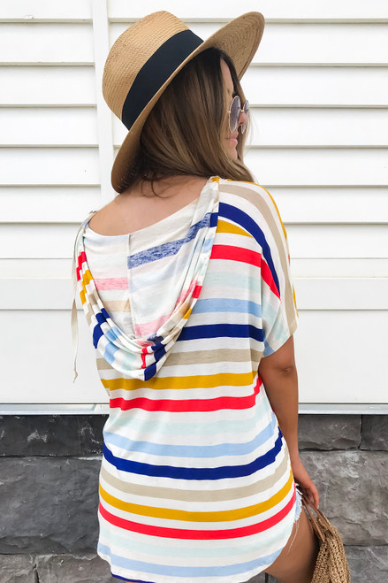 Multi - Striped Hooded Top Back View