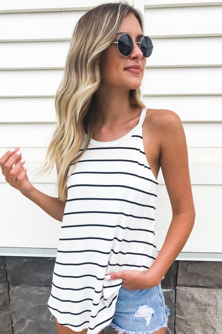 White - and Black Striped Tank Top Front View