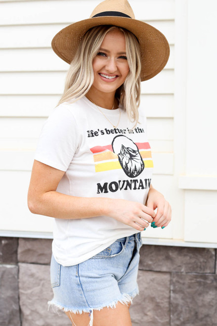 Model wearing Life's Better in the Mountains Graphic Tee Side View