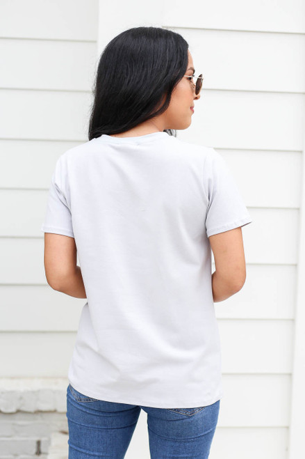 Model wearing Grey Lazy Sunday Vibes Graphic Tee Back View