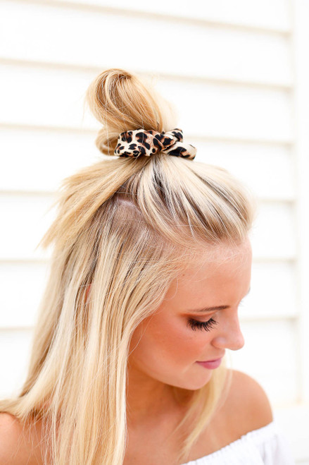 Leopard - Print Chiffon Scrunchie on Model