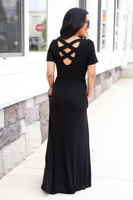 Black - Criss Cross Back Empire Waist Maxi Back View