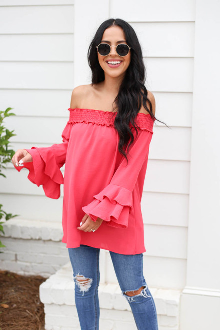 Model wearing Fuchsia Off the Shoulder Ruffle Sleeve Top Front View
