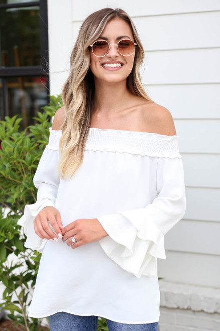 White - Off the Shoulder Ruffle Sleeve Top
