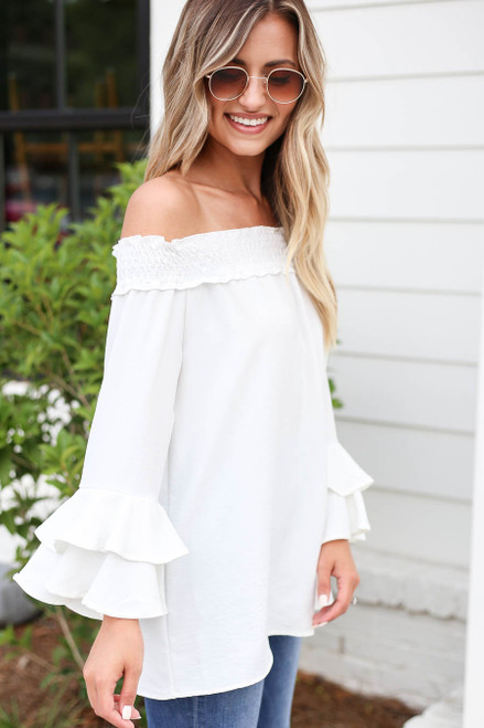 White - Off the Shoulder Ruffle Sleeve Top Side View