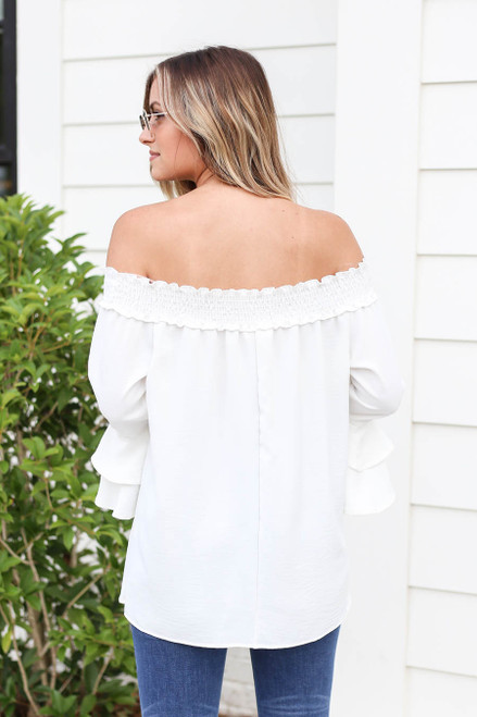 Model wearing White Off the Shoulder Ruffle Sleeve Top Back View