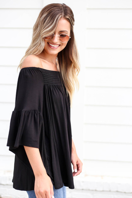 Black - Off the Shoulder Flutter Sleeve Blouse Side View