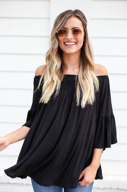Black - Off the Shoulder Flutter Sleeve Blouse
