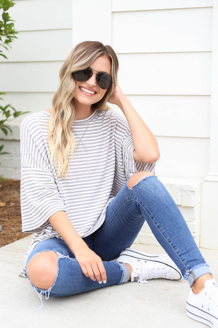 Grey - Striped Oversized Top Sitting View