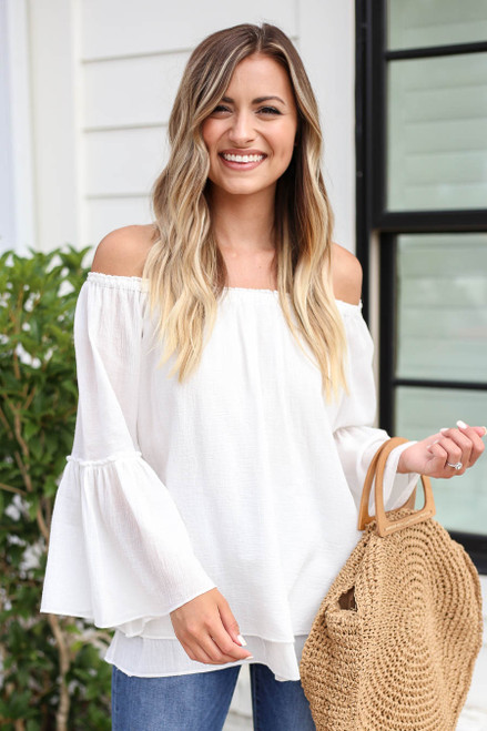 White - Off the Shoulder Bell Sleeve Top